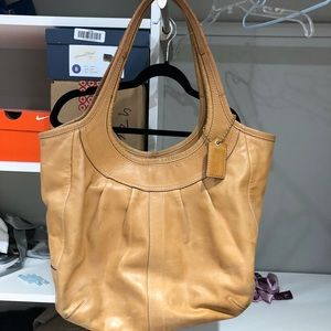 Coach Brown Leather Shoulder Bag + Matching Wallet